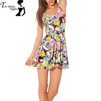 X-014 Fashion punk dress Women Skater dress adventure time Neon patterns saia pleated dress polka dot