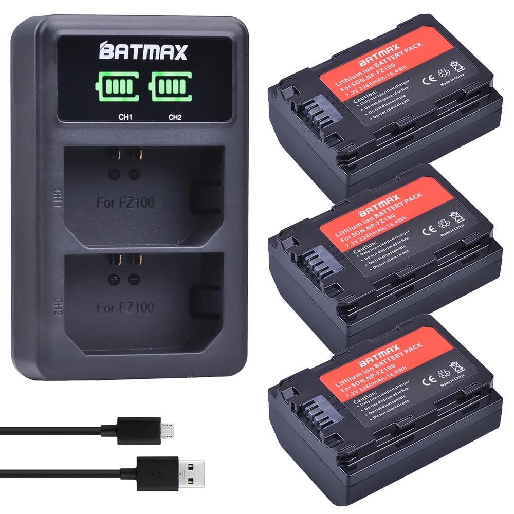 3 pcs NP-FZ100 NP FZ100 NPFZ100 Batterie + NP FZ100 LED Double Chargeur de batterie pour SONY ILCE-9 A7m3 a7r3 A9 7RM3 BC-QZ1 Caméra