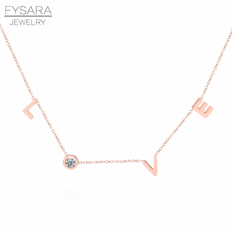 HTB18T43X5zxK1RjSspjq6AS.pXaV - FYSARA Stainless Steel Round Crystal Pendants Necklace Couple Romantic Luxury LOVE Necklace for Women Choker Wedding Jewelry
