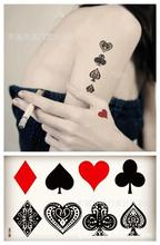 Body Art Waterproof Temporary Tattoos For Lady Women Sexy 3d Poker Design Flash Tattoo Sticker HC-036