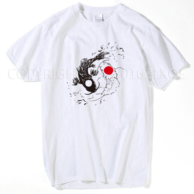 4bd1d833 Vintage Tees Funny O-Neck Two Koi Fish t shirt japanese yin yang carp  Short-Sleeve Mens 2018 summer white top T Shirt