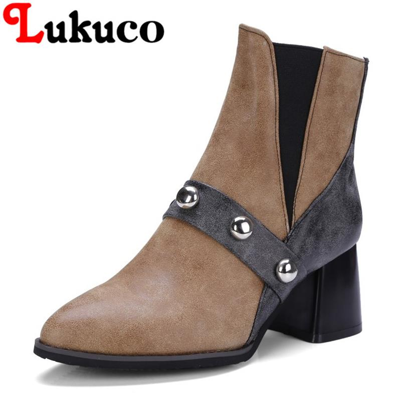 2018 EUR large size to 40 41 42 43 44 45 46 47 48 49 Lukuco women ankle boots Rivet design high quality lady shoes free shipping