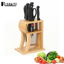 RUNBAZEF Kitchen Bamboo Knife Holder Tool Cutter Block Magnetic Portacoltelli CEPPO  Stand for Knives