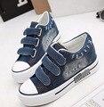 Женская Обувь Hook & Loop повседневная холст обувь высота увеличение платформа Моды джинсовой ткани женщин обувь Размер 35-40 4d15