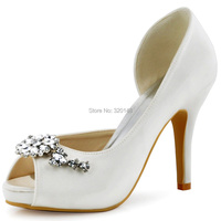 HP1552I Women High Heels Platform Pumps Ivory Size 4 Peep Toe Flowers Rhinestones Satin Bride Lady