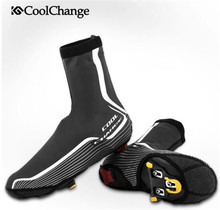 CoolChange Protector Reflective Bicycle Shoes Cover Waterproof Cycling Shoe Covers Winter Thermal Windproof MTB Bike Overshoes