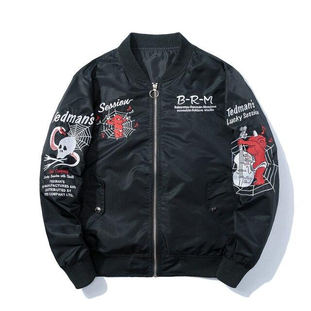 fa28b999fcfa Winter Pilot Jacket Embroidery Skulls Anime Bomber Jacket Men Hip Hop  Fashion Baseball Jacket Harajuku Japanese Streetwear Male