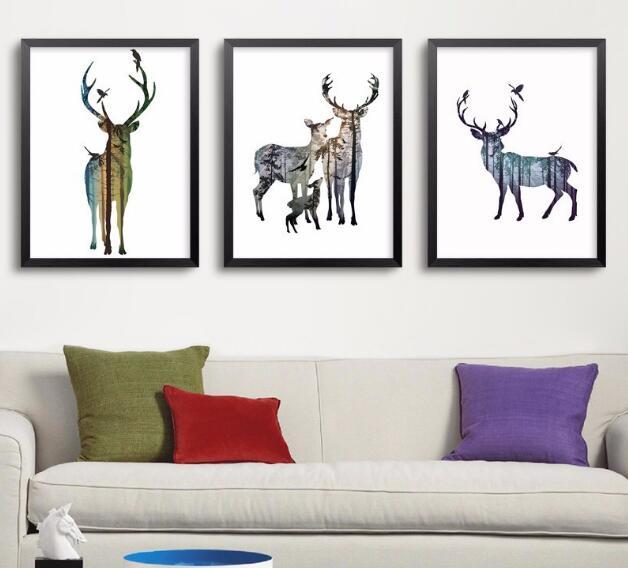 Kreslené obrázky na plátně Zvířata Moderní plakáty na plátně Tisk na plátně Umělecké tisky Nástěnné obrázky pro děti Pokoj bez rámečku
