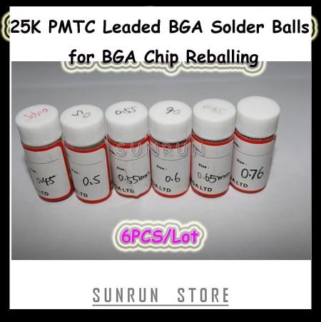 6Bottles PMTC Leaded BGA Solder Balls 0.45 0.5 0.55 0.6 0.65 0.76mm 25K Solder Balls Kit for BGA Chip Reballing цены