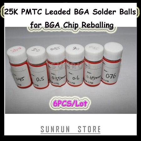 6Bottles PMTC Leaded BGA Solder Balls 0.45 0.5 0.55 0.6 0.65 0.76mm 25K Solder Balls Kit for BGA Chip Reballing
