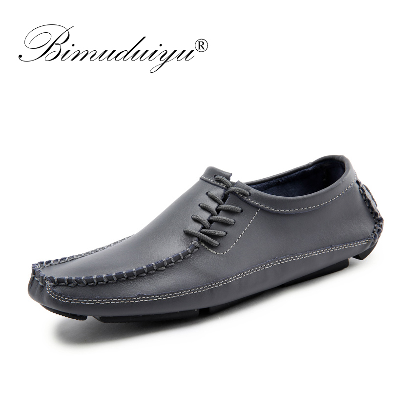BIMUDUIYU Big Size 38-47 Men Loafers Moccasins Leather Casual Shoes Men Flats Oxford Shoes Men Fashion Breathable Driving Shoes spring summer men casual shoes fashion leather lace up driving shoes breathable moccasins men shoes flats