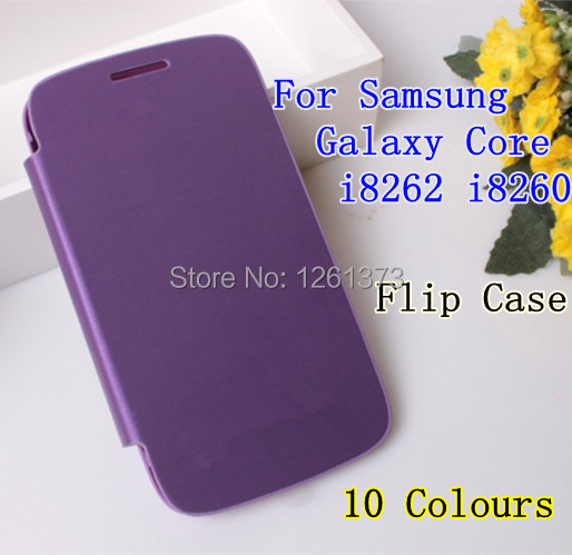 For Samsung Galaxy Core I8260 I8262 GT-I8262 8260 8262 PU Flip Leather Back Battery Cover Flip Case