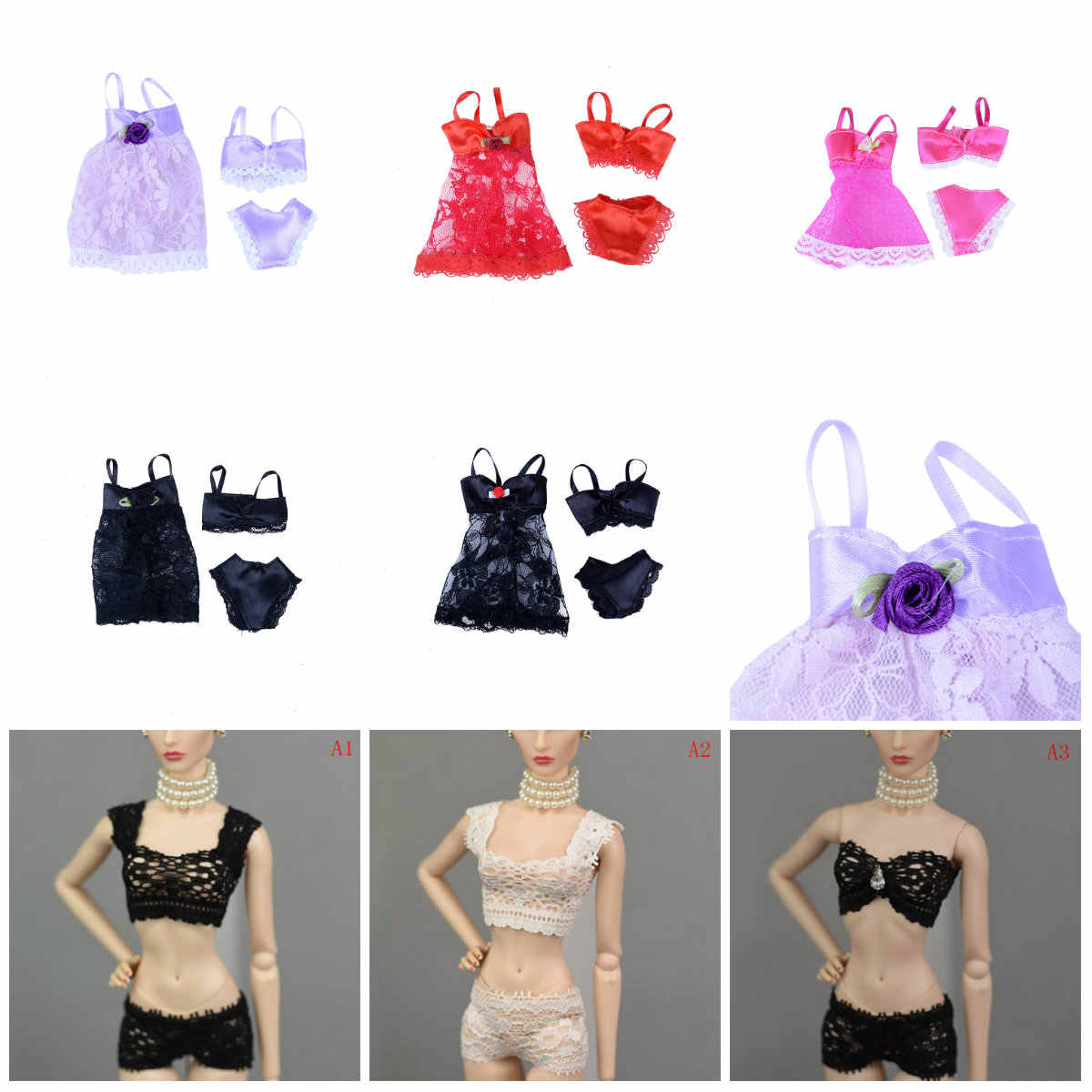 3 Pcs/Set Sexy Pajamas Lingerie Lace Costumes + Bra + Underwear Dress Clothes For girl Doll Clothes Accessories Girl Toy