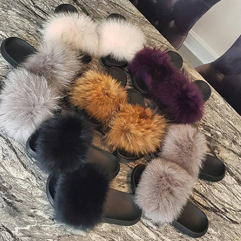 New Fox Fur Slippers Female Authentic Raccoon Fur Casual Outdoor Fluffy Shoes Quality Holiday Sandals