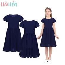 Детское платье принцессы iiniim, многослойное плиссированное платье с цветами для девочек, летнее элегантное подростковое платье на свадьбу, день рождения