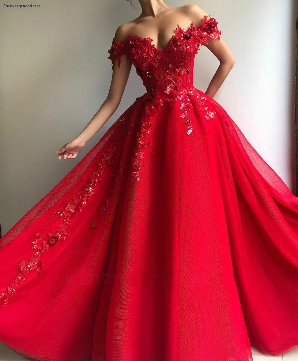 Elegant Red Flora Off Shoulder Evening Dresses A Line Appliques Sequins Long Evening Gowns Arabic Vestidos Prom Wears BC1458 132 (3)