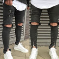 NEW Fashion Arrivals Vintage Men Straight Hole Slim Fit Jeans Black Distressed Ripped Skinny Pants