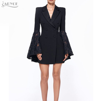 ADYCE 2018 New Autumn Blazer Women Jacket Black Lace Notched Jaqueta Feminina Celebrity Runway Jackets Elegant