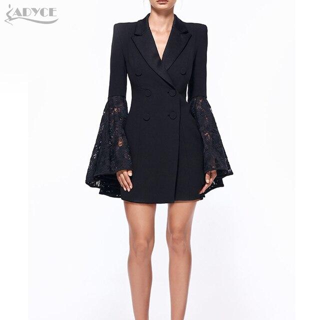 ADYCE 2018 Outono Nova Blazer Mulheres Jaqueta de Renda Preta Entalhado jaqueta feminina Celebridade Runway Casacos Senhora Elegante Blazer