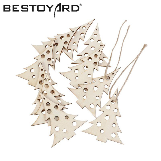 10pcs Wooden Embellishments Party Wedding Decoration Wood Craft Tree Pattern Pendant With Hemp Ropes