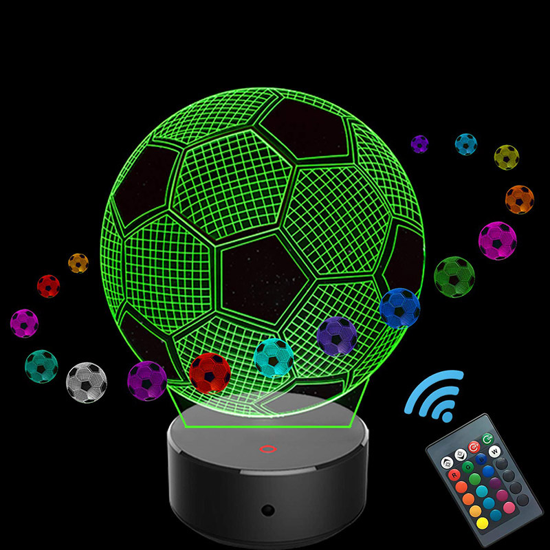 3D Soccer Optical Illusion Gift Acrylic lamp Night Light Touch Table Desk Optical Illusion Lamps 7 Color Changing Lights Home Decoration Xmas Birthday Gift
