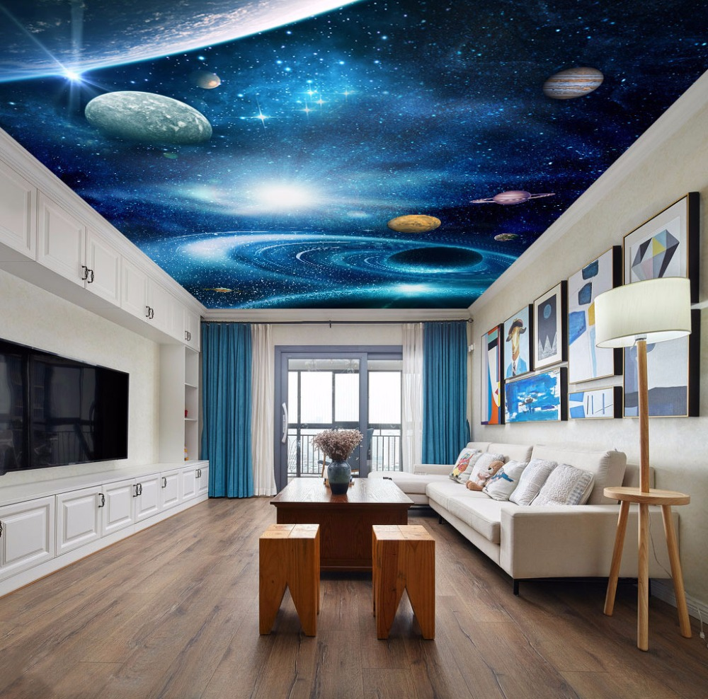 Universe Outer Space 3d Ceiling Wallpaper for Hall Living