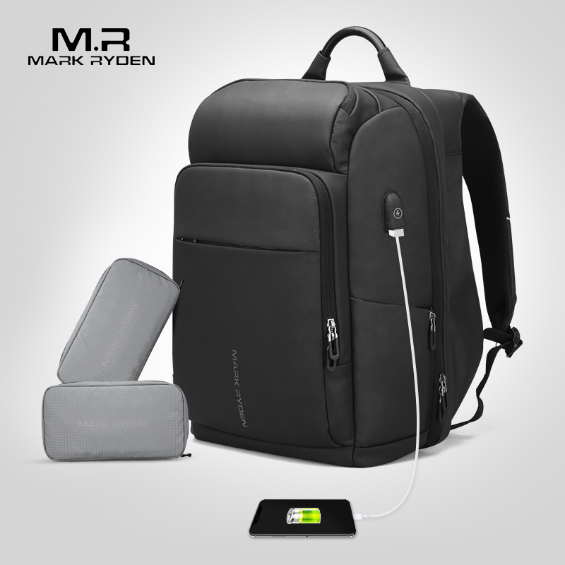 Mark Ryden ผู้ชายกระเป๋าเป้สะพายหลัง Multifunction USB ชาร์จคอมพิวเตอร์ 17 นิ้วกระเป๋าขนาดใหญ่ความจุกระเป๋าเดินทางกันน้ำสำหรับชาย-ใน กระเป๋าเป้ จาก สัมภาระและกระเป๋า บน   1