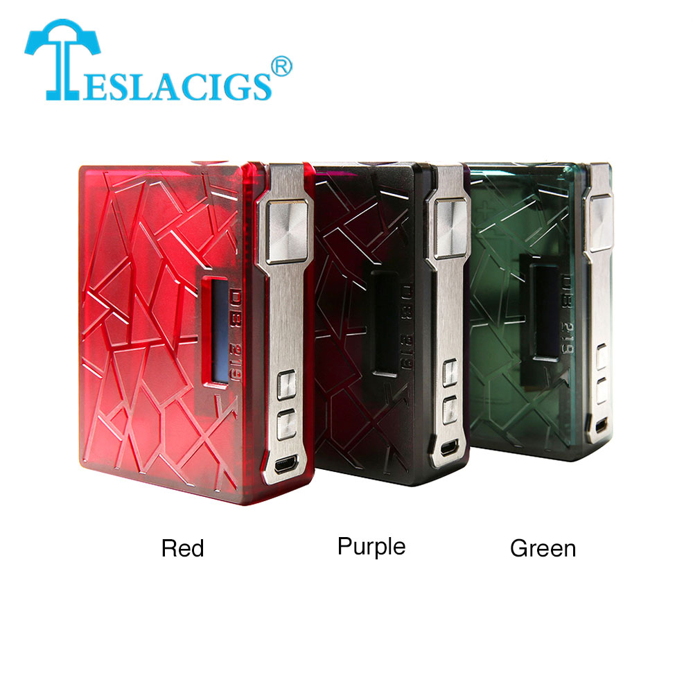 New Tesla DB 219 TC Box MOD Made of Advanced PEI Material with 219W Max Output No 18650 Battery E-cig Vape Teslacigs DB 219 Mod db ii 60 e