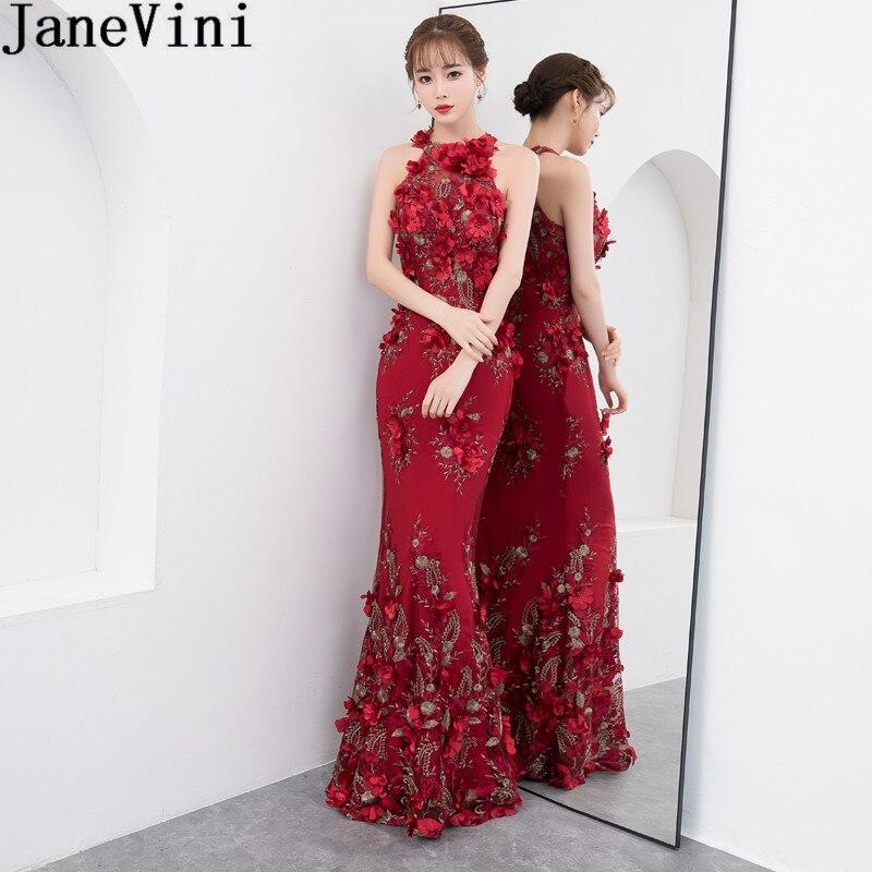 JaneVini Бордовые цветы Для женщин Свадебные вечерние платье Русалка Холтер кружева длинное платье подружки невесты пол Длина вечерние платья