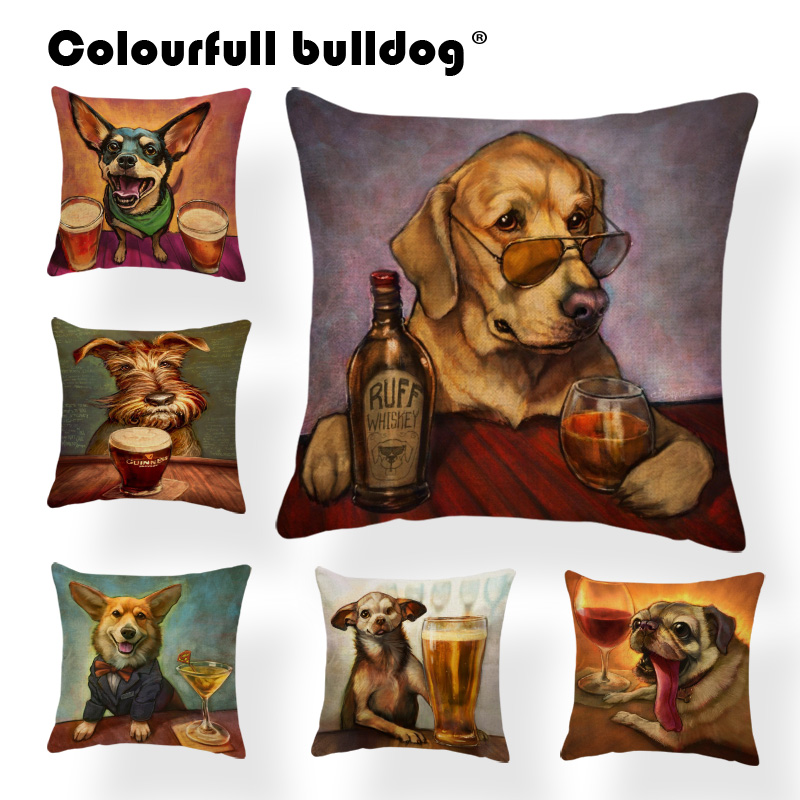 Animal Dog Cover Corgi Pug Cushion Pillow Case  French Bulldog Chihuahua Pillow Case Covers Home Decorative Throw Pillow Linen