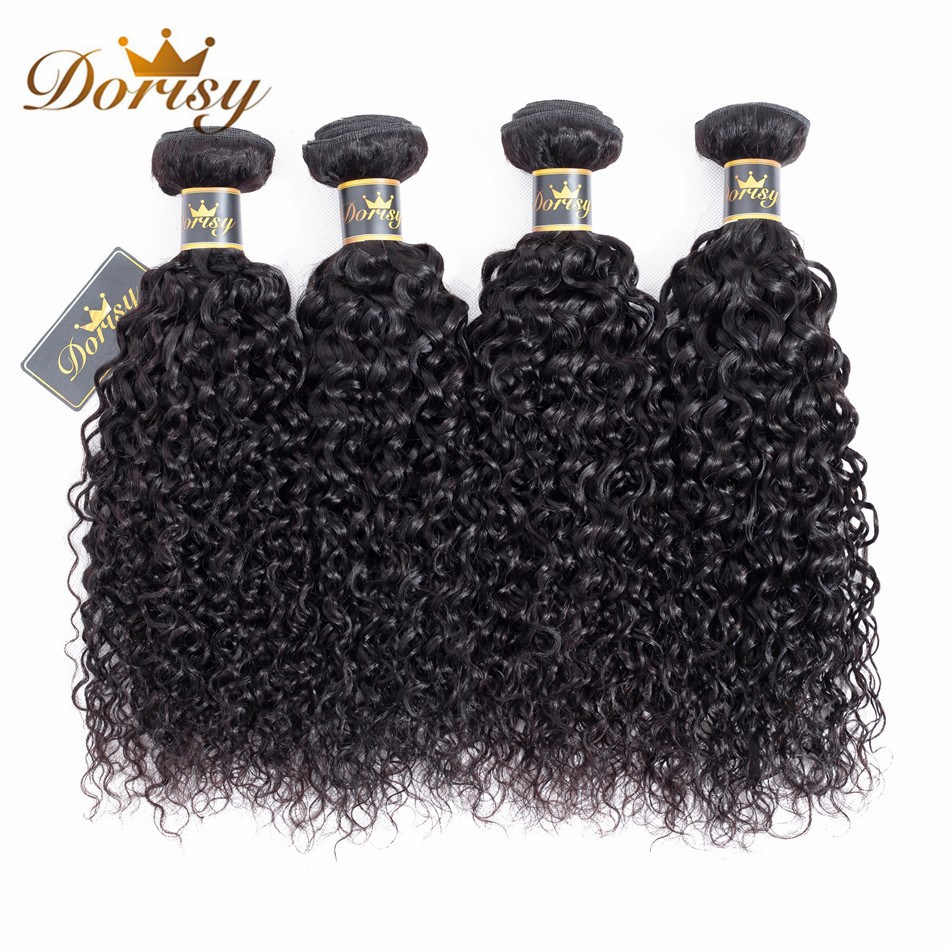 Dorisy Hair Pre-Colored 4 Bundles Kinky Curly Hair 100% Non Remy Human Natural Color Malaysian 8-26 Inch Hair Weave Bundles