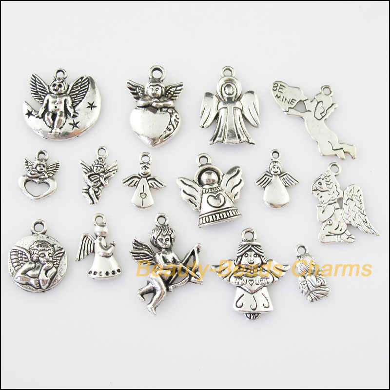 15 Pcs Antiqued เงินโทน DIY/Lovely Angel ผสม Charms จี้