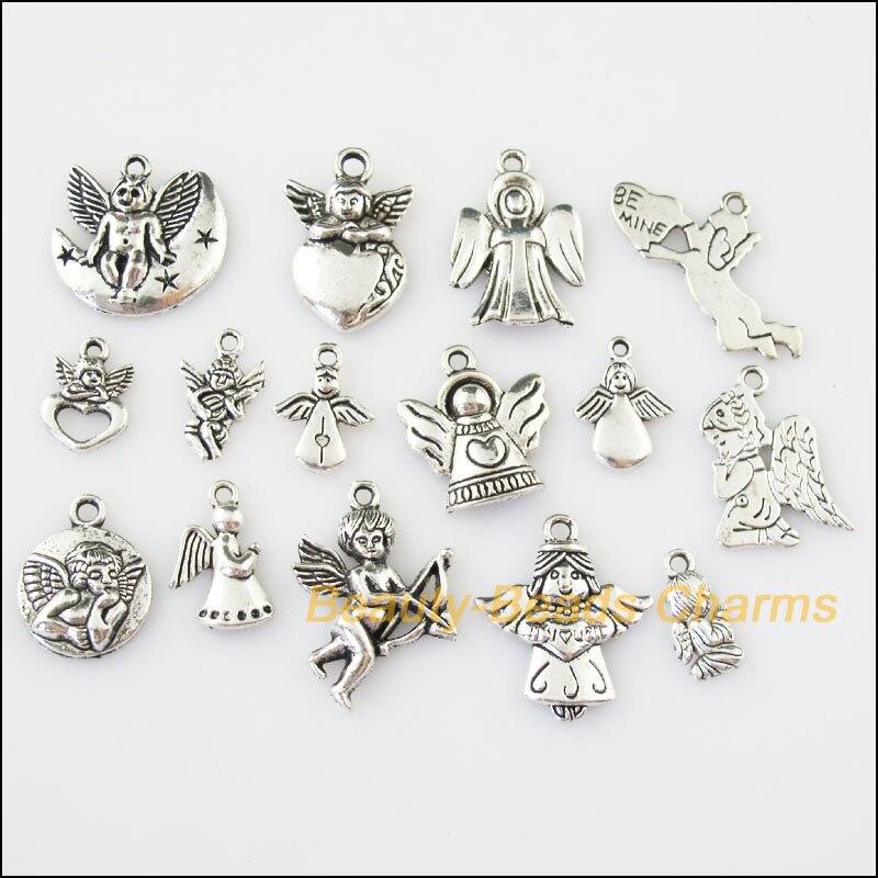 15 Pcs Antiqued Silber Ton Diy/schöne Engel Mixed Charms Anhänger
