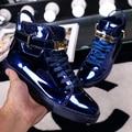 2016 de Invierno Brillante de Charol Amantes Candado Estilo Sneakers High Top Lace Up Altura Creciente Zapatos Masculinos Más Tamaño 45