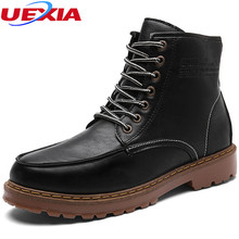 UEXIA Retro Style Boots Men Leather Brown Motorcycle Boots Casual Shoes Male Fashion Buckle Quality Zapatillas Hombre Fashion