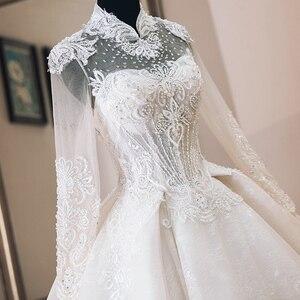 Image 4 - Vestido de Casamento Che Borda Appliques di Lusso Abito di Sfera Abiti Da Sposa Manica Lunga 2020 di Alta Collo Trouwjurk Vestito Da Sposa