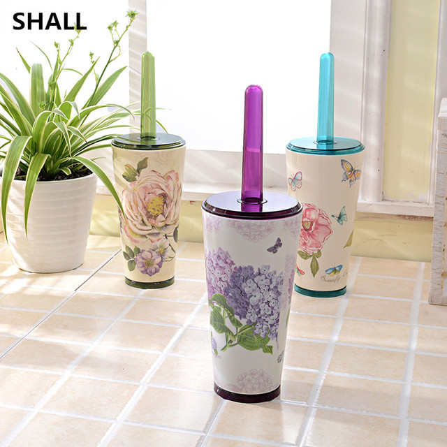 SHALL Creative European Melamine WC Bathroom Accessories Toilet Brush With Holder Set Cleaning Tools Durable Sanitary Product