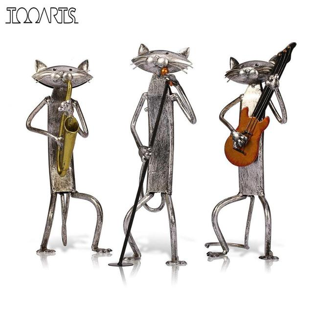 Tooarts Metal Figurine pop A Playing Guitar Saxophone Singing Cat Figurine Furnishing Articles Craft Gift For Home Decoration
