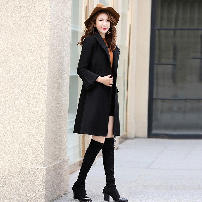 Automne femmes rouge mi long manteau de laine 2018 hiver nouvelle mode élégante coréenne décontracté femme tempérament Caramel laine manteau XY179 - 5