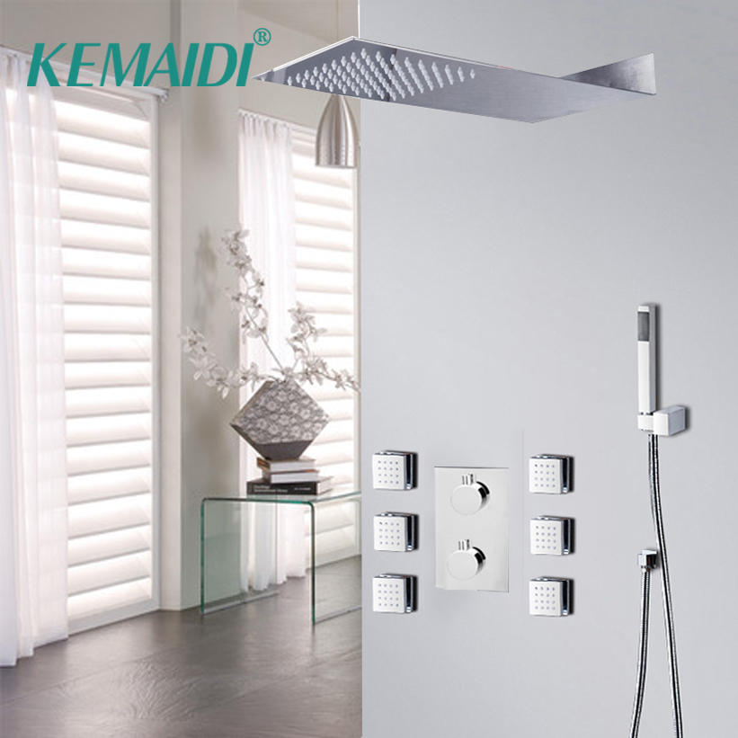 KEMAIDI 1 Set Bathroom Rainfall Shower Faucet Set Mixer Tap With Hand Sprayer Wall Mounted Bath Shower Sets Message Jet ShowerKEMAIDI 1 Set Bathroom Rainfall Shower Faucet Set Mixer Tap With Hand Sprayer Wall Mounted Bath Shower Sets Message Jet Shower