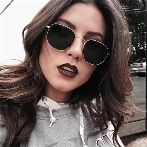 e87d1306d860 women s Hexagonal Sunglasses brand Shades Metal Flat Lens Ladies Glasses  Unisex mens designer sunglasses vintage oculos 5187