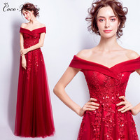 C V 2017 Women New Fashion Sexy Even Dress Red Lace Beading Design Off Shoulder Long