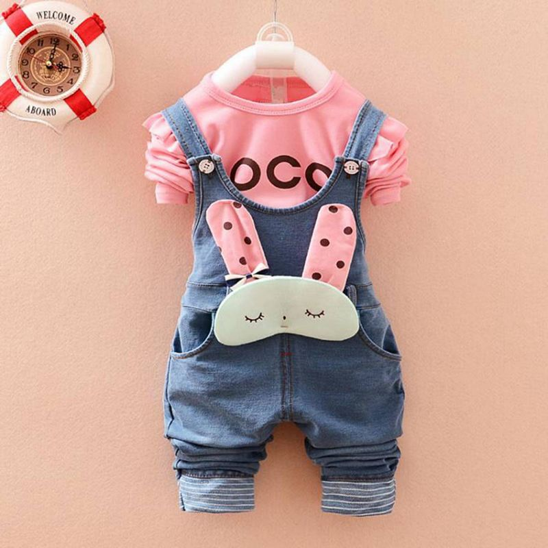 New Kids Clothing Sets Roupas De Bebe Baby Girls Letter T-Shirt Tops+Denim Jeans Cute Rabbit Overalls Pants 2 Pieces Suits MT301 ...