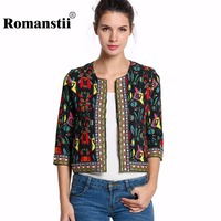 Spring Autumn Long Sleeve Crop Cardigan Suit Vintage Ethnic Women Basic Coat Female Floral Jacket Lady