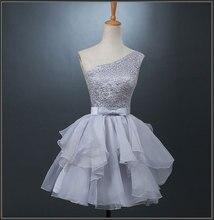 Silber Vestidos De Festa Spitze Cocktail-kleid Plus Größe Kleider Organza Tiered Bogen Schulter Lace Up Party Kleider D04