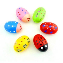 6pcs Wooden Percussion Musical Eggs Maracas Egg Shakers Baby Toy Noise Maker