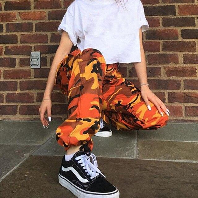Pantalon Camouflage Orange Femme Hip Hop