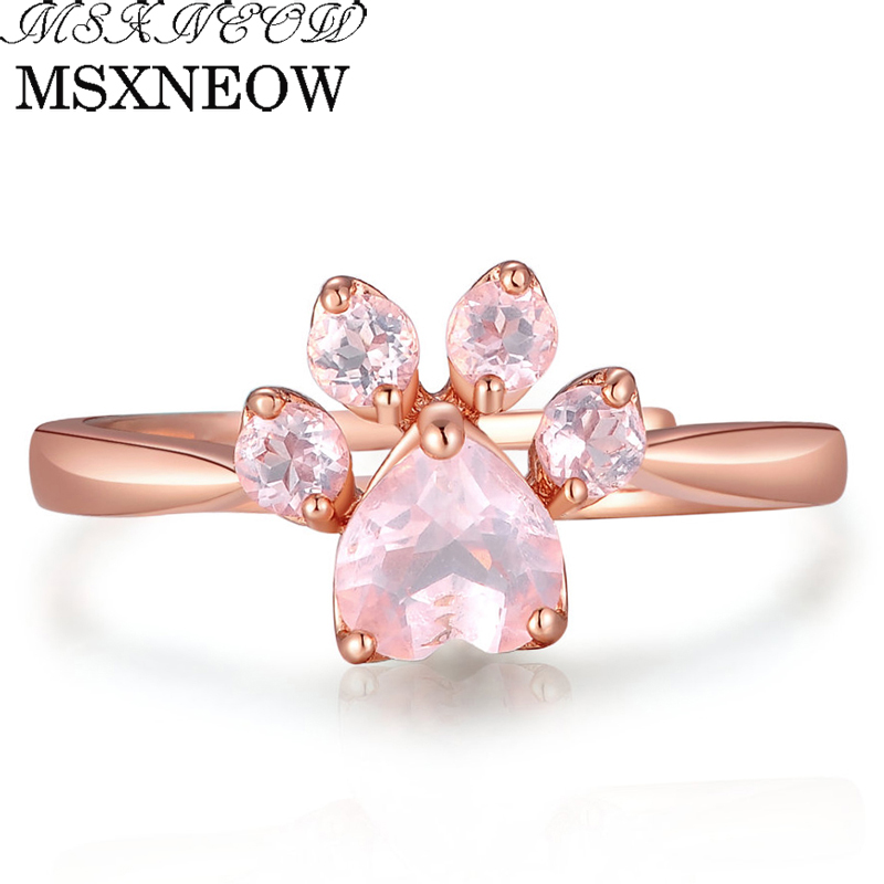 MSXNEOW Adjustable wedding Ring Animal Clam Pink Natural Gemstone Rose Quartz 925 Sterling Silver Fine Jewelry