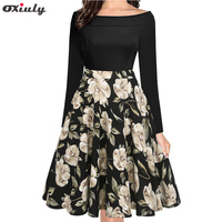 Oxiuly Women Elegant Floral Print Party Dress Fall 50s Vintage Retro Rockabilly Skater Pin Up Swing