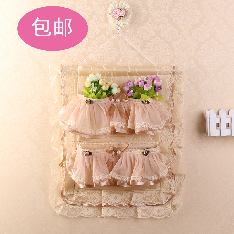 Multi layer lace cloth wardrobe bag door after the walls sundries bag storage bags sorting bags in Hanging Organizers from Home Garden